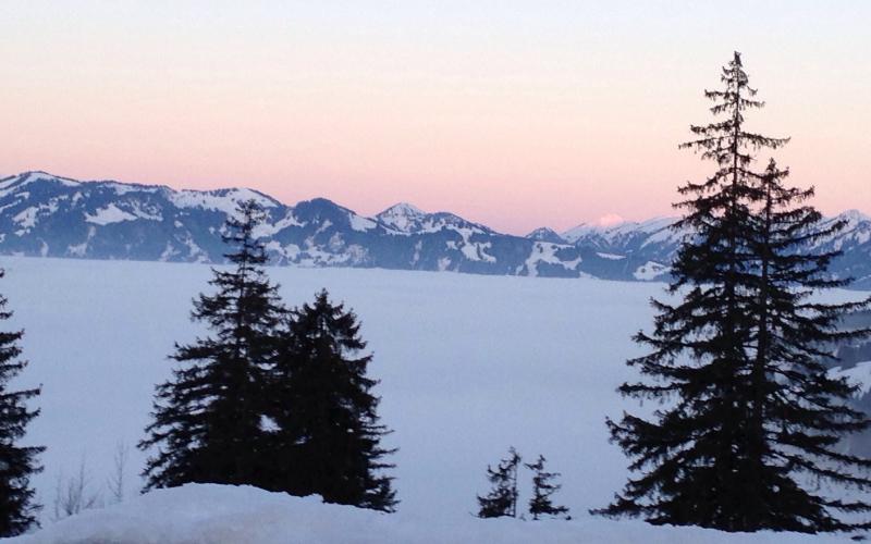 Nebliges Unterland vor dem Sonnenuntergang   Haus Alpenblick in Oberjoch